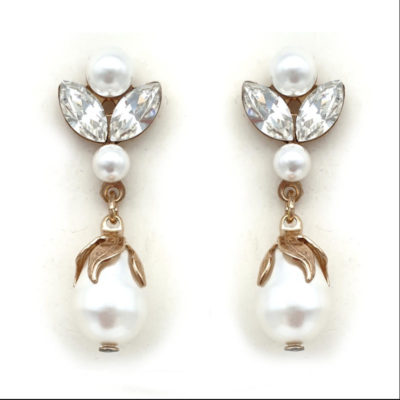 Rose gold pearl and crystal drop earrings