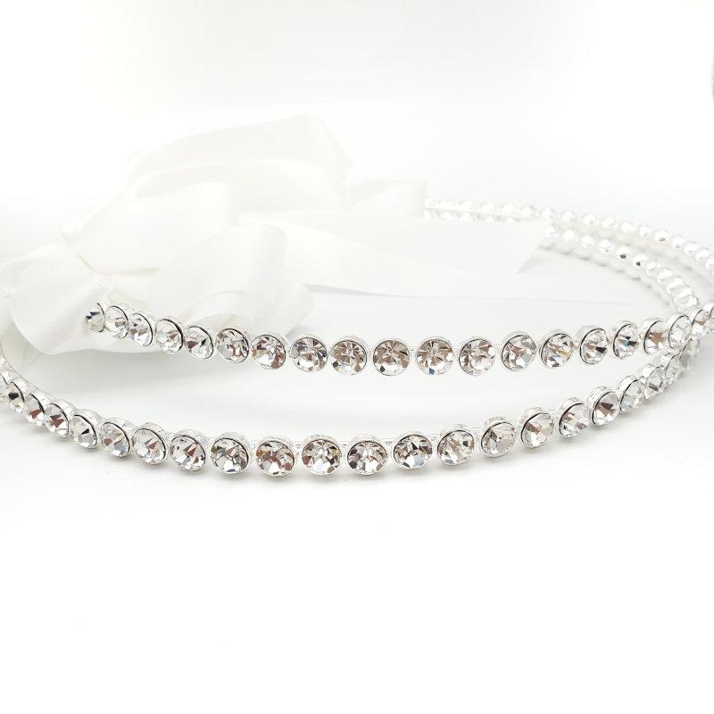 Silver crystal bridal stefana