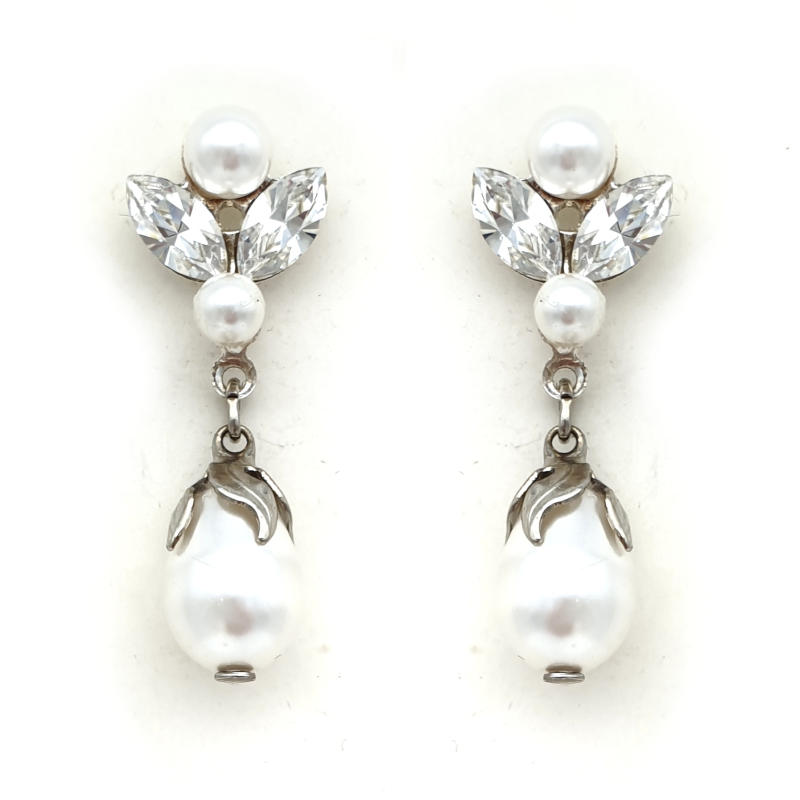 Silver pearl and crystal drop earrings