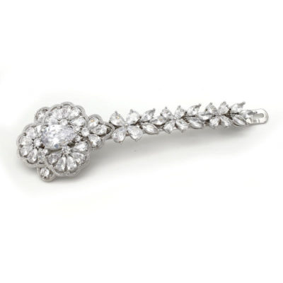 Silver bridal vintage hair slide
