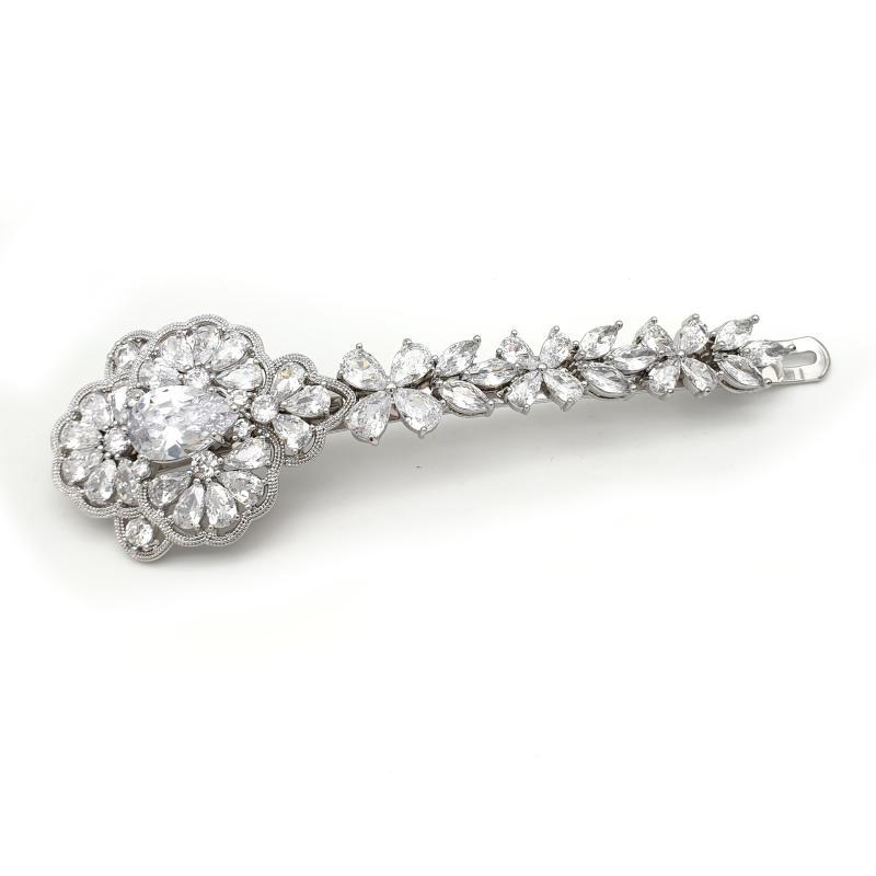 Silver bridal vintage hair slide