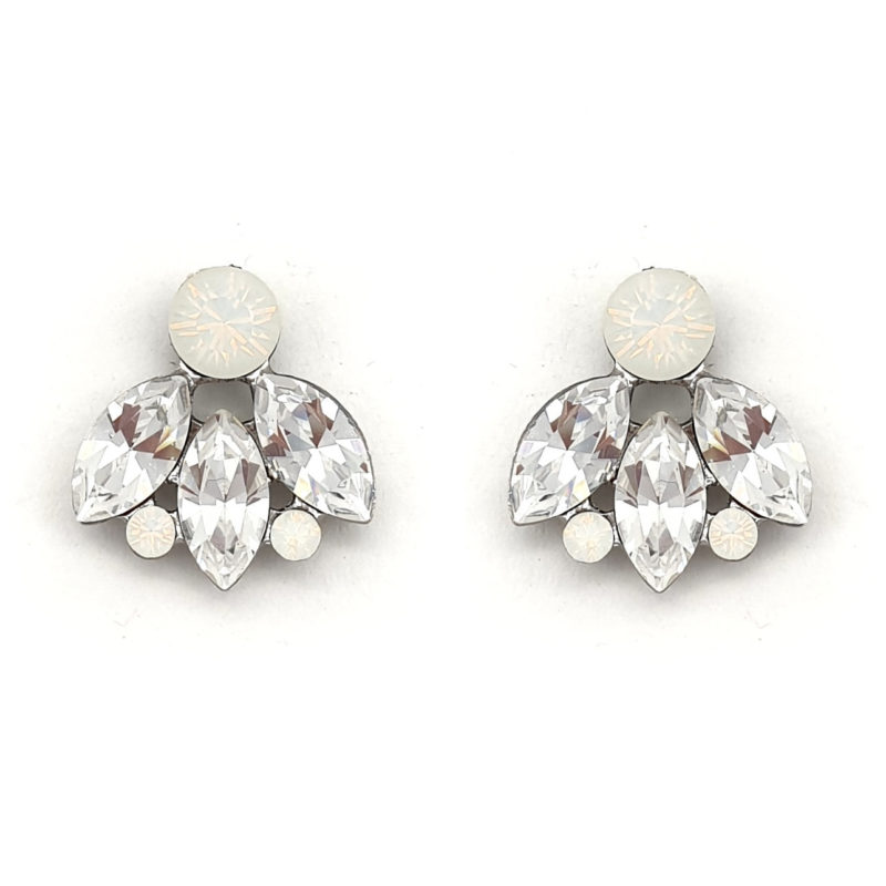 Swarovski clear and white opal crystal bridal studs