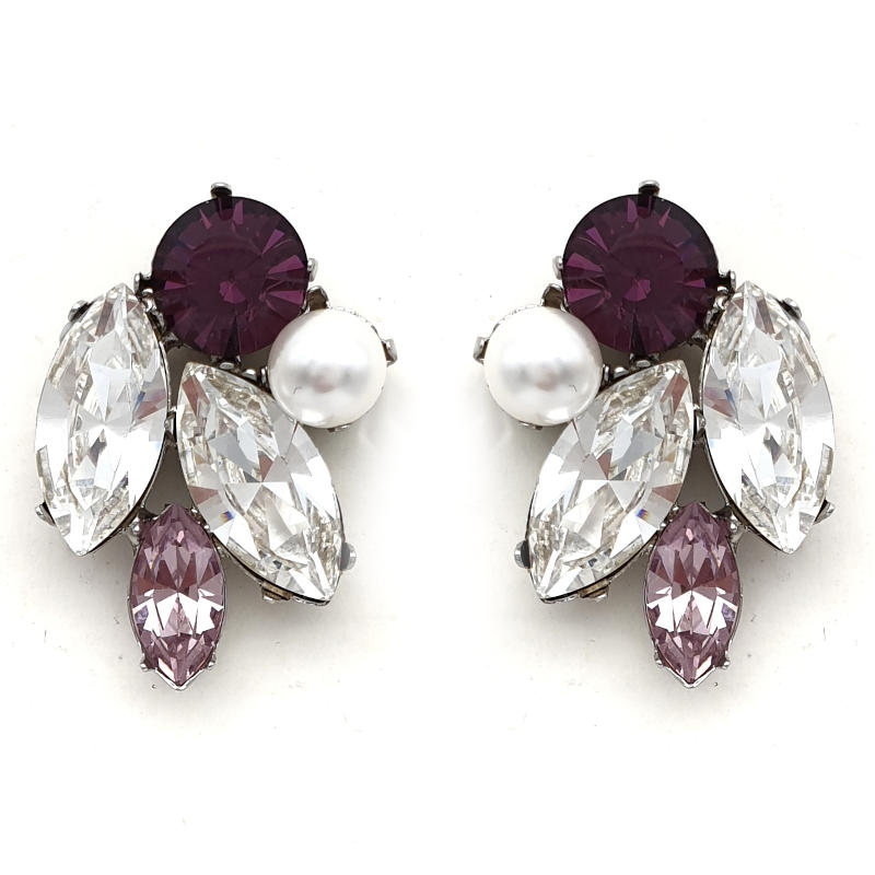 Amethyst crystal and pearl statement studs