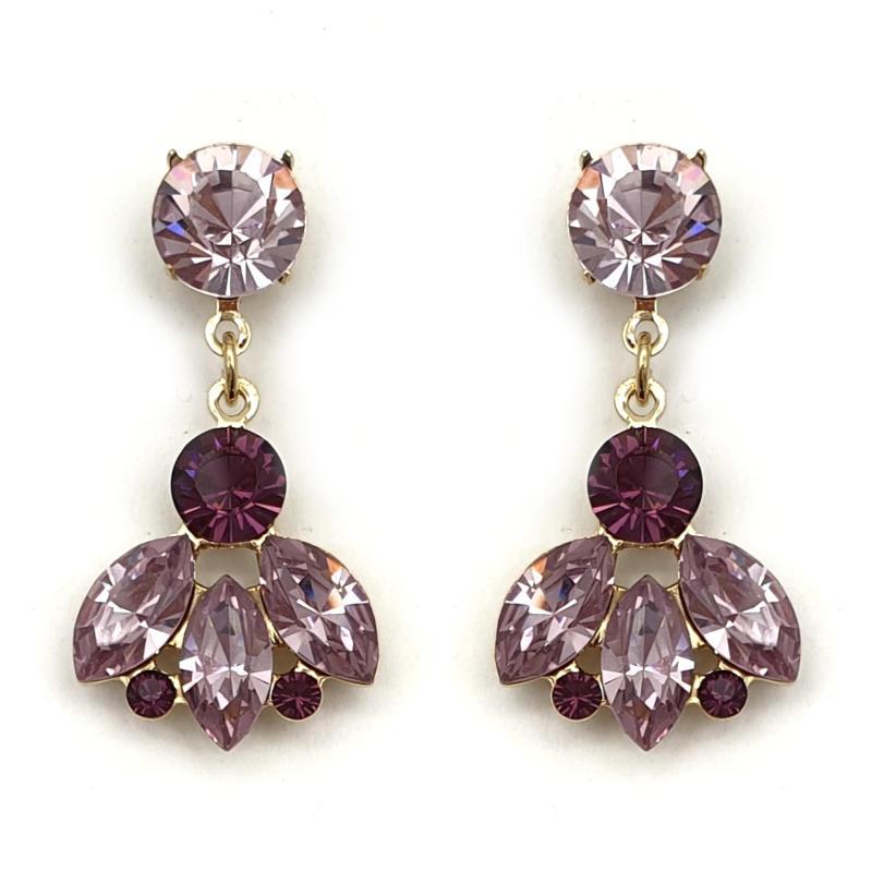 Amethyst crystal drop earrings