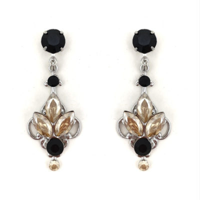 Black and topaz crystal drop earrings