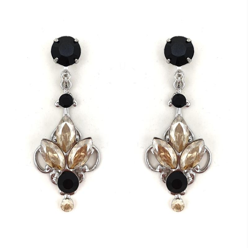 Black and topaz crystal drop earrings