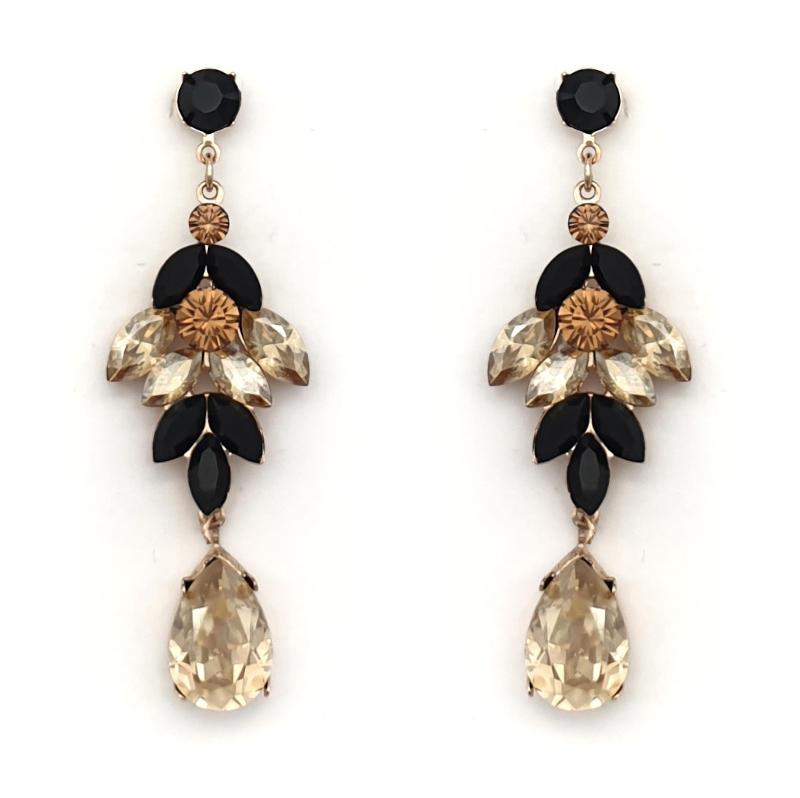 Black and beige Swarovski crystal drop earrings