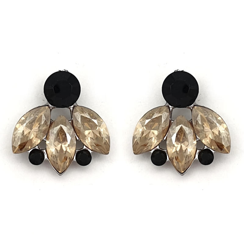 Black and golden shadow crystal stud earrings