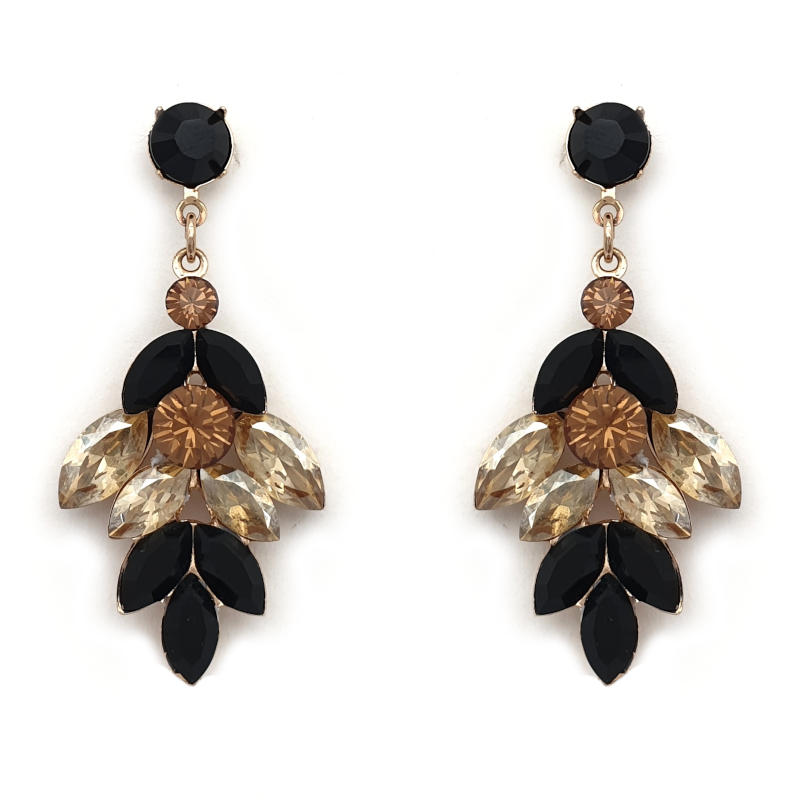 Jet black and golden shadow drop earrings
