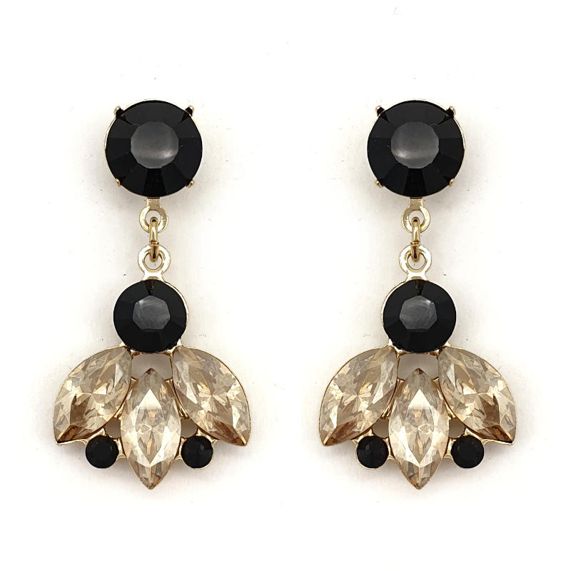 Black and golden shadow drop earrings