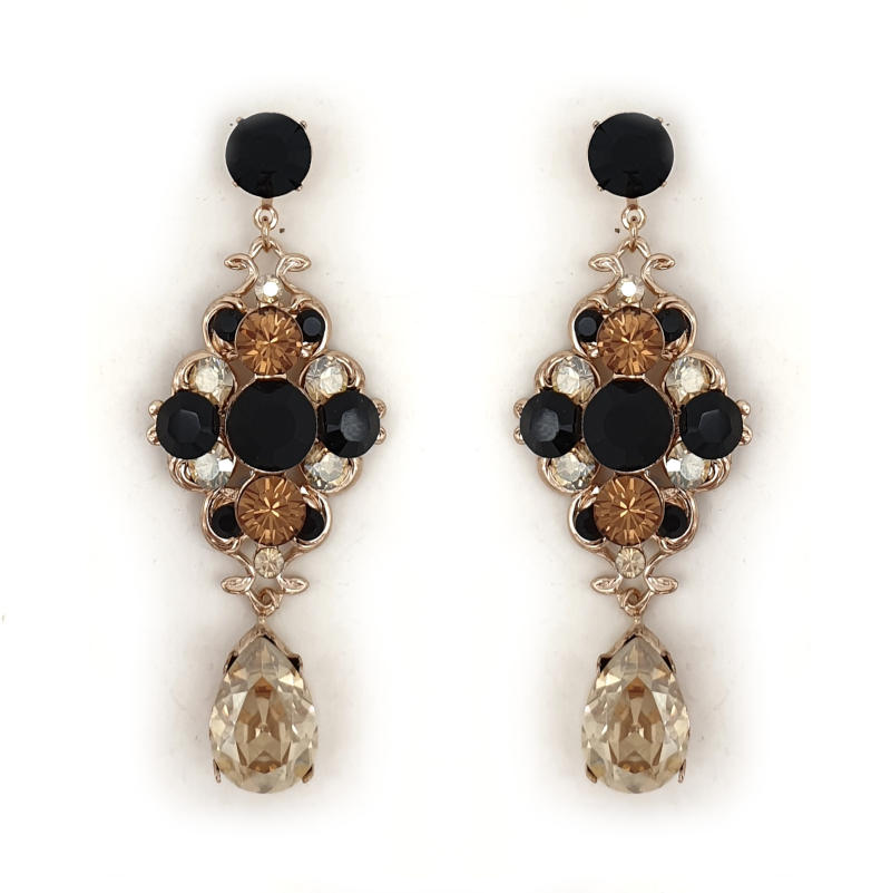 Black and topaz crystal statement drop earrings