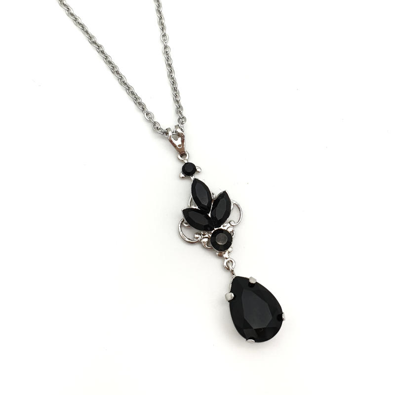 Black crystal pendant necklace