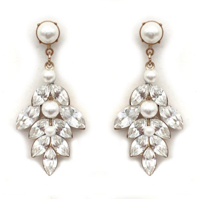 Bridal drop crystal and pearl earrings