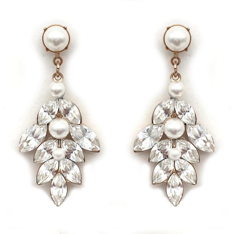 Bridal drop crystal and pearl earrings