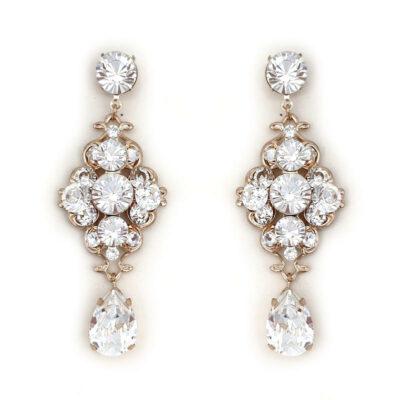 Crystal bridal statement drop earrings
