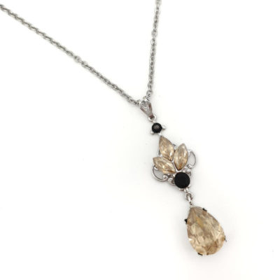 Golden shadow and black Crystal pendant necklace