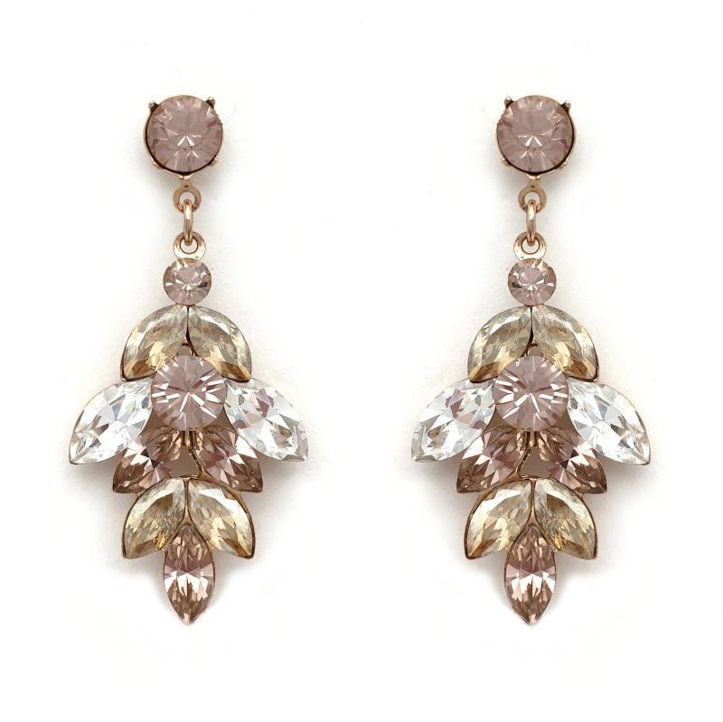 Dusty pink and beige drop earrings