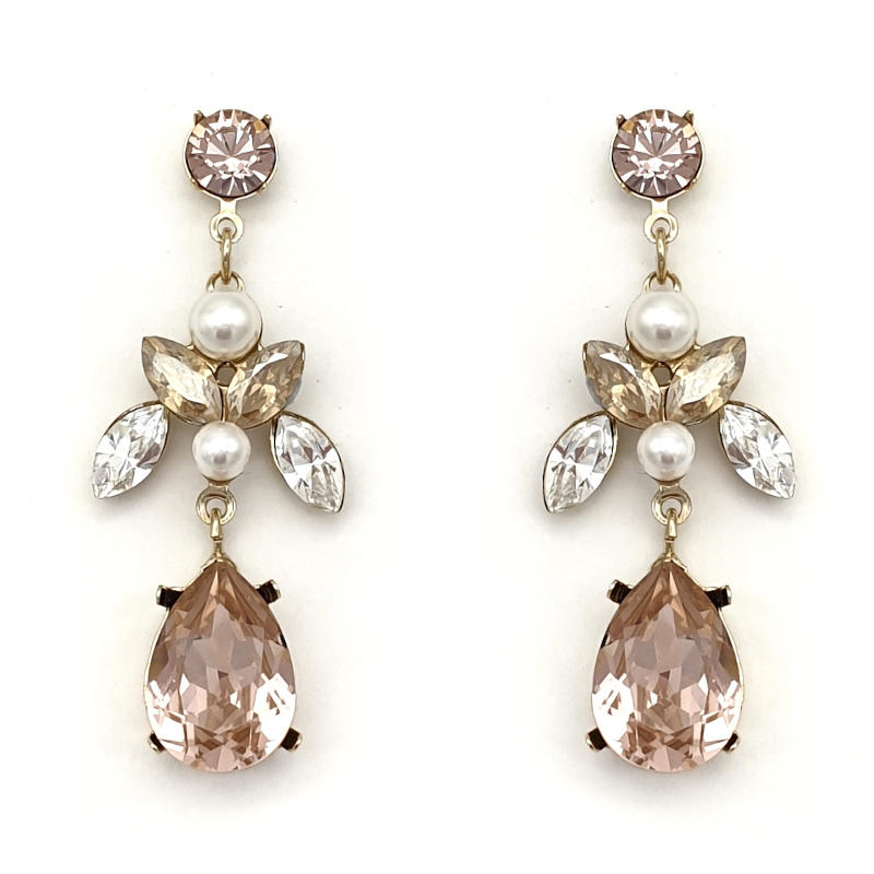 Dusty pink crystal and pearl drop earrings