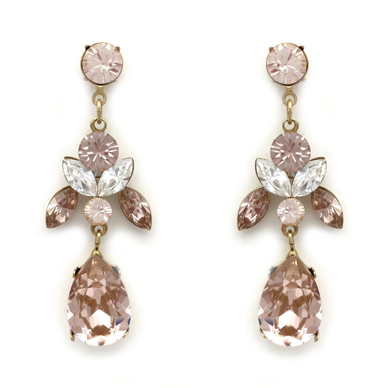 Dusty pink crystal drop earrings