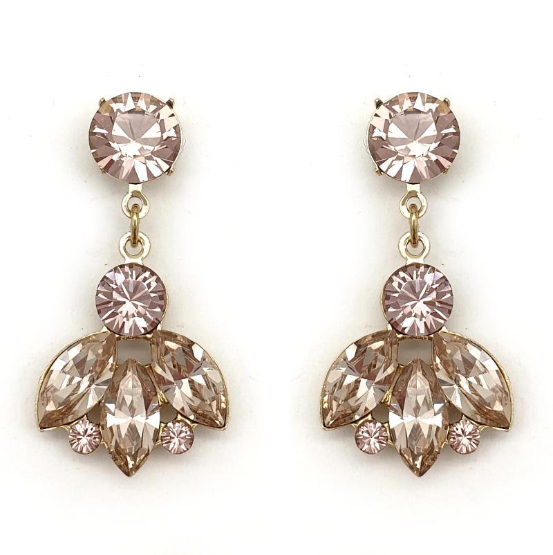 Dusty pink crystal drop earrings