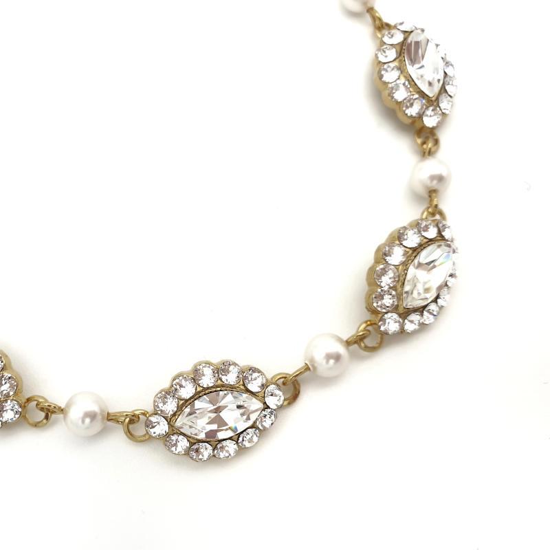 Gold crystal and pearl bridal bracelet