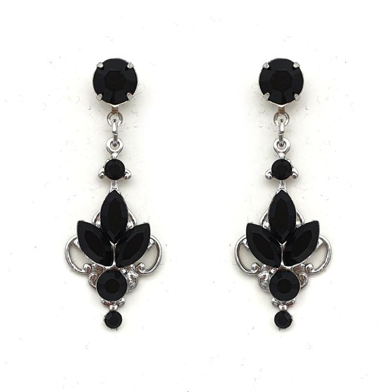 Jet black drop earrings