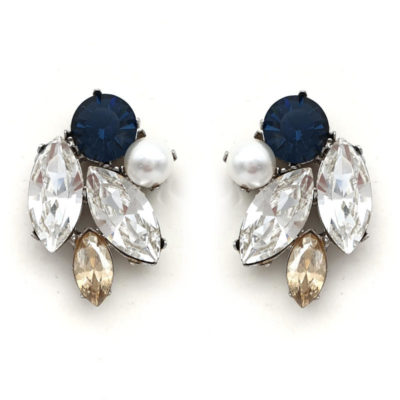 Navy Beige and pearl crystal statement studs