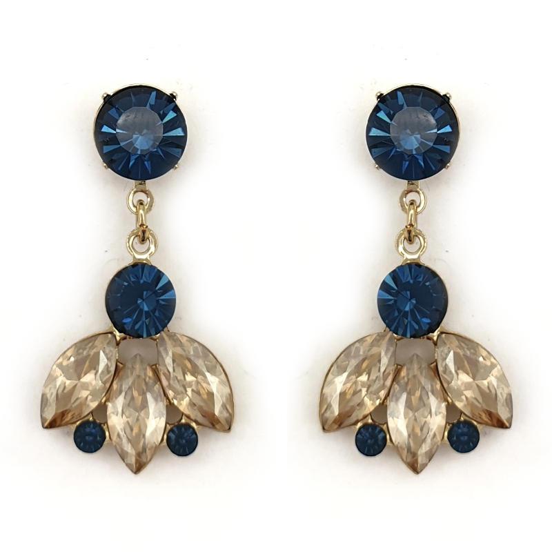 Navy and beige crystal drop earrings