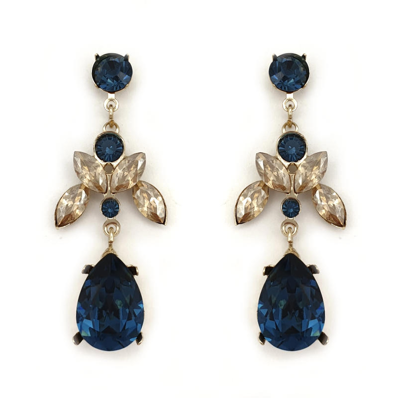 Sapphire and Topaz crystal drop earrings