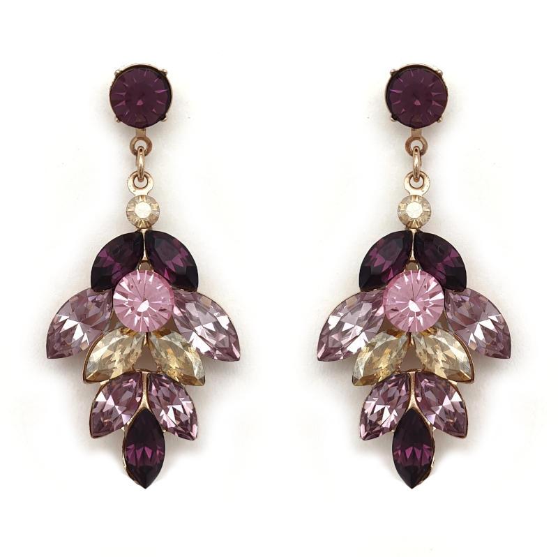 Purple amethyst Crystal drop earrings