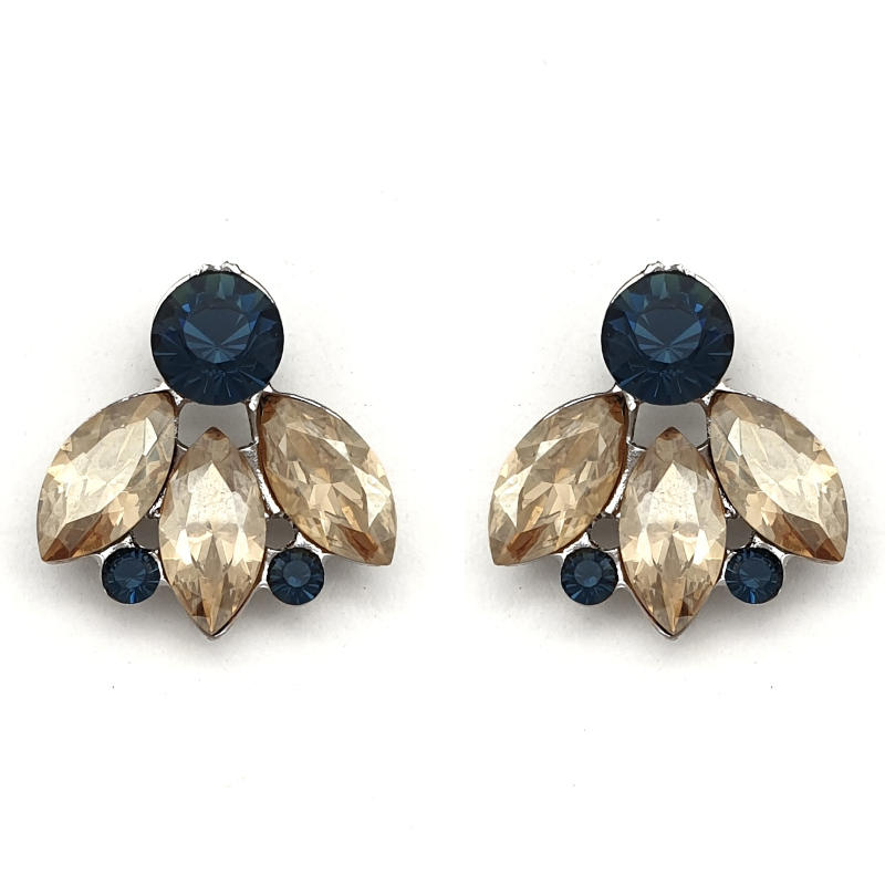 Sapphire and topaz crystal stud earrings