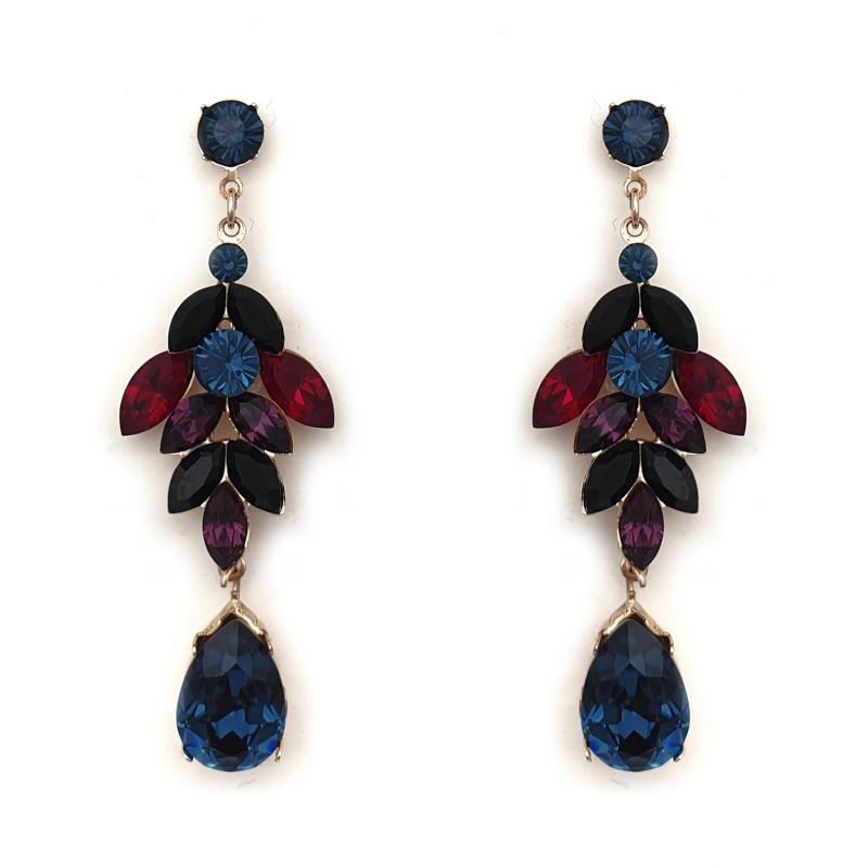 Sapphire purple ruby black crystal drop earrings