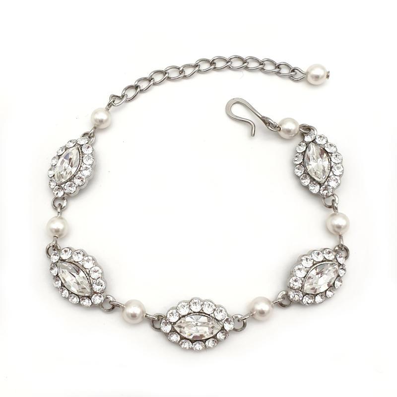 Silver Swarovski crystal and pearl bridal bracelet