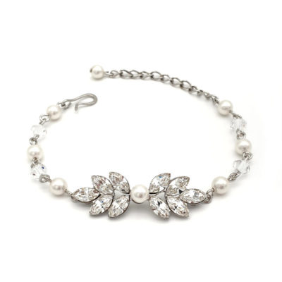 Silver crystal and pearl bridal bracelet