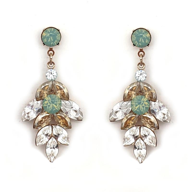 Swarovski crystal aqua beige and clear crystal drop earrings