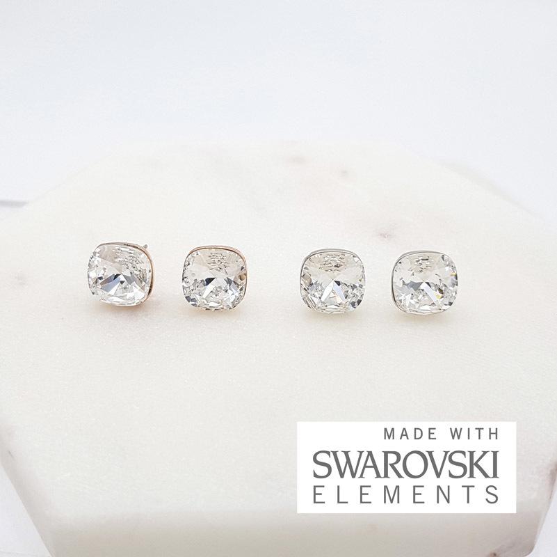 Swarovski crystal square studs