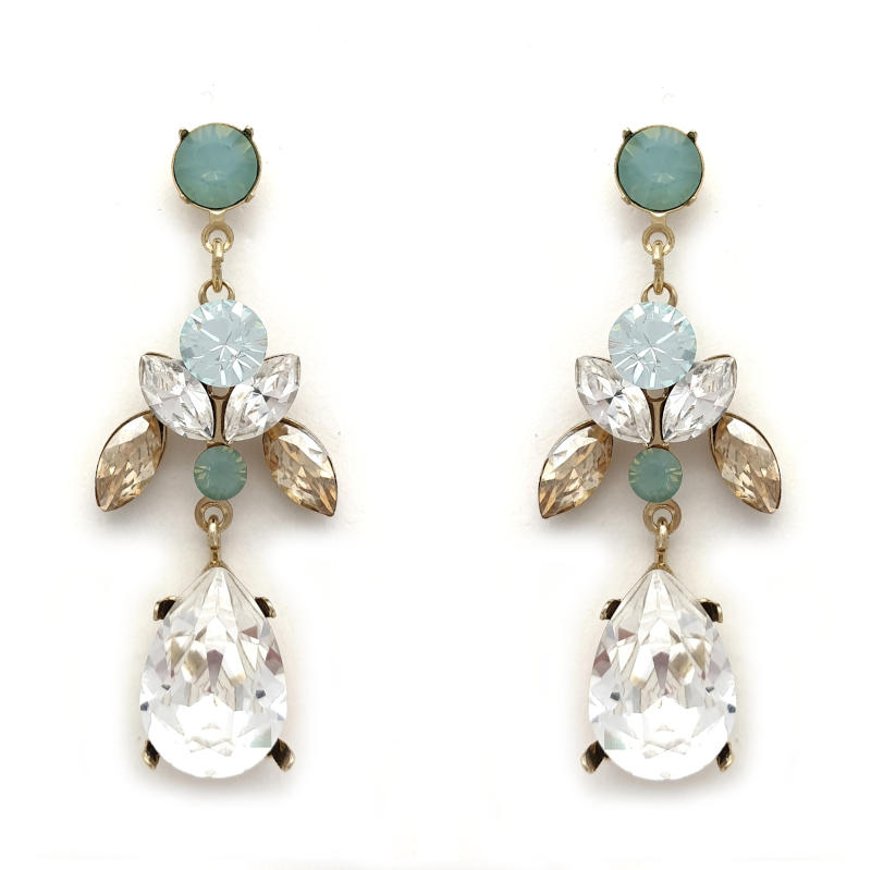 Teal, beige and clear crystal drop earrings
