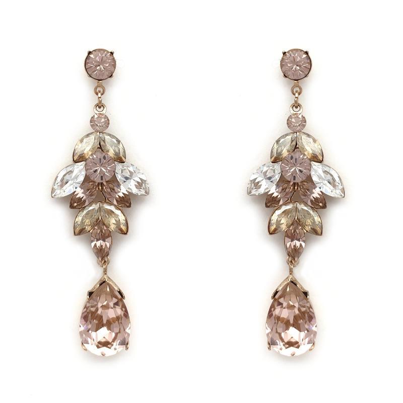 Vintage rose and beige statement drop earrings