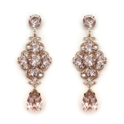 Vintage rose dusty pink crystal drop earrings