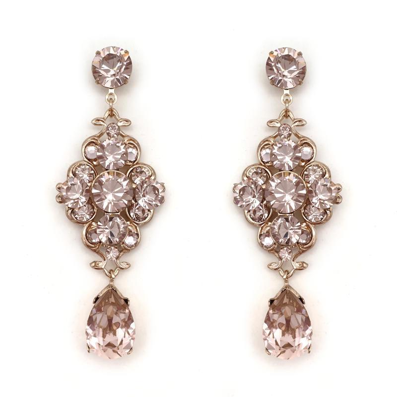 Vintage rose dusty pink crystal drop earrings
