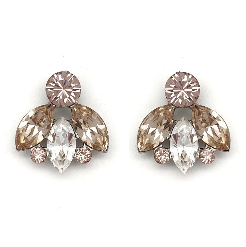 Vintage rose crystal stud earrings