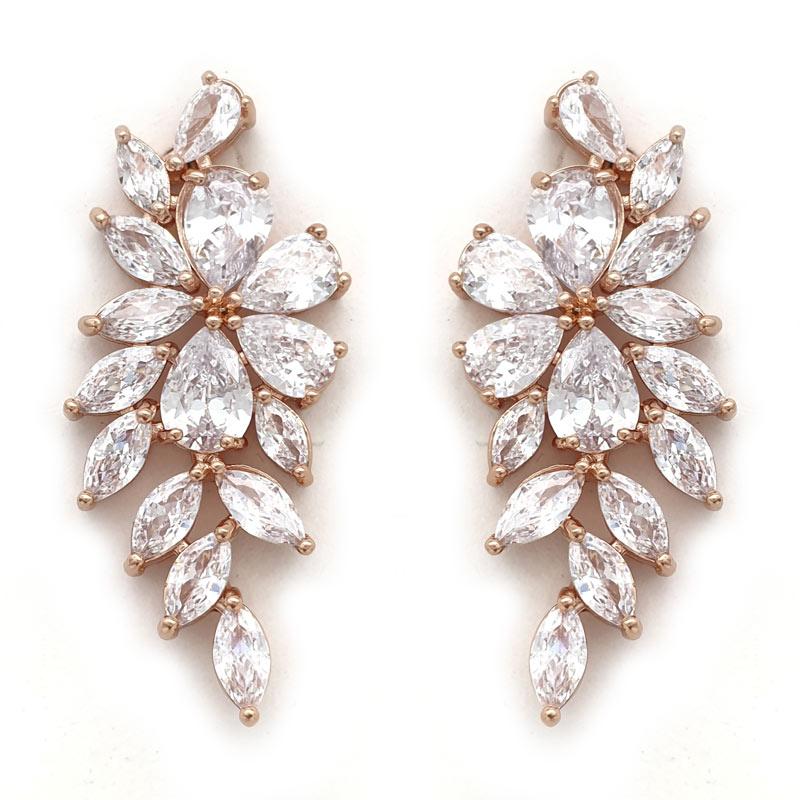 Rose gold cluster bridal earrings