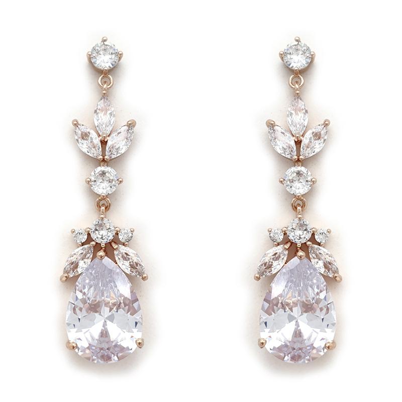 Rose gold drop bridal earrings