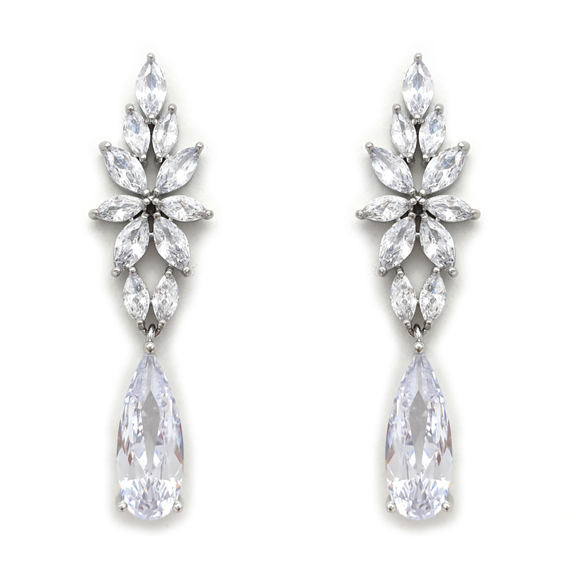 Silver long bridal earrings