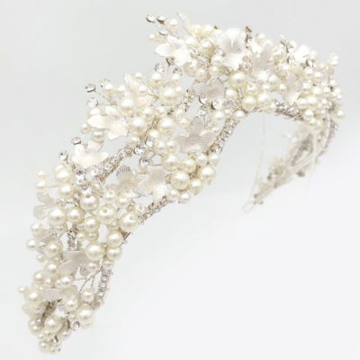 Crystal and pearl bridal tiara