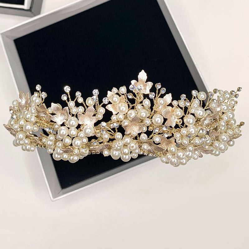 Gold pearl and leaf bridal crown