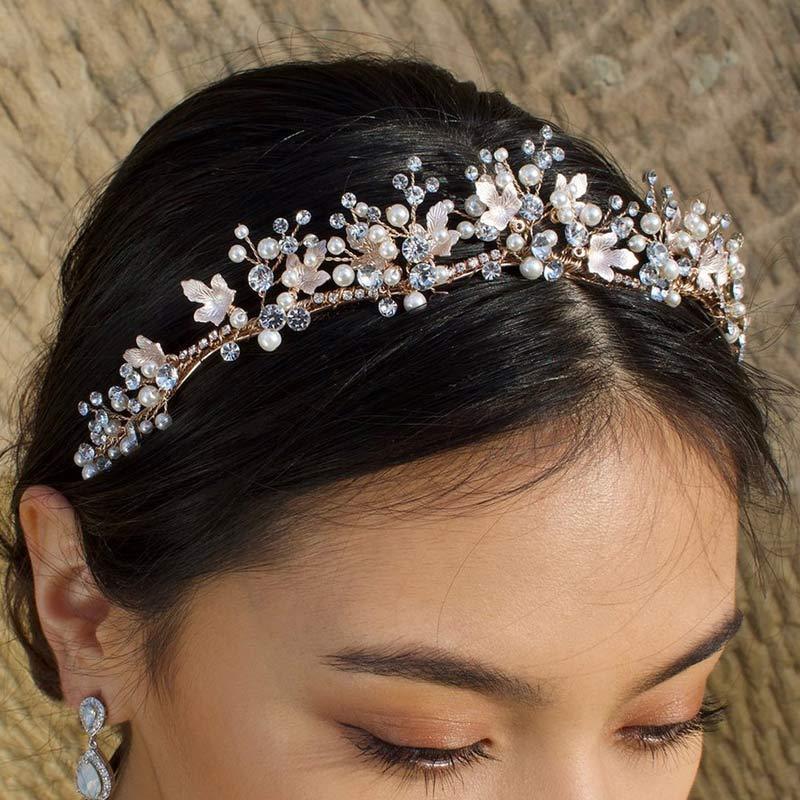 Gold pearl and leaf bridal tiara