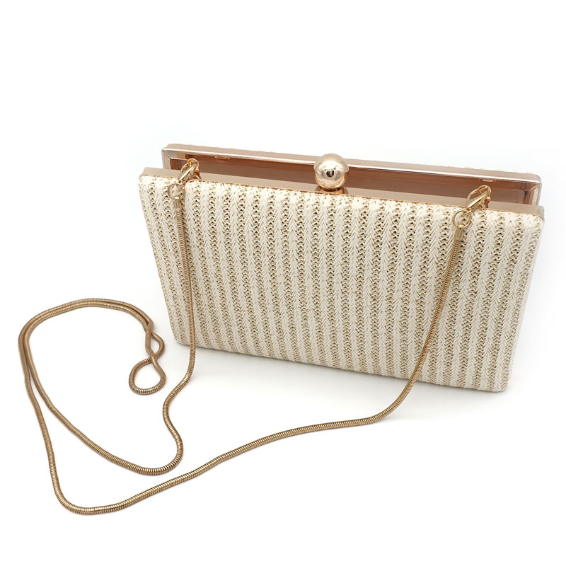 Ivory straw woven evening clutch