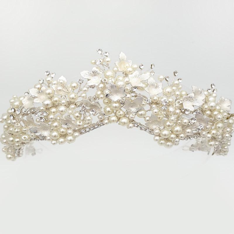Pearl and crystal leaf bridal crown