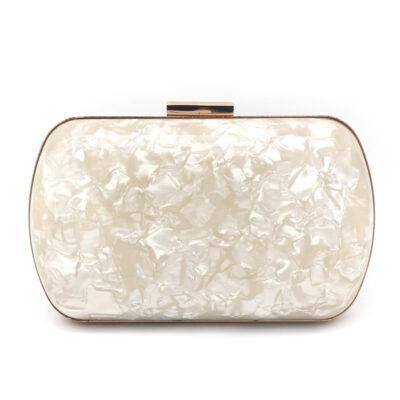 Pearl marble effect acrylic clutch